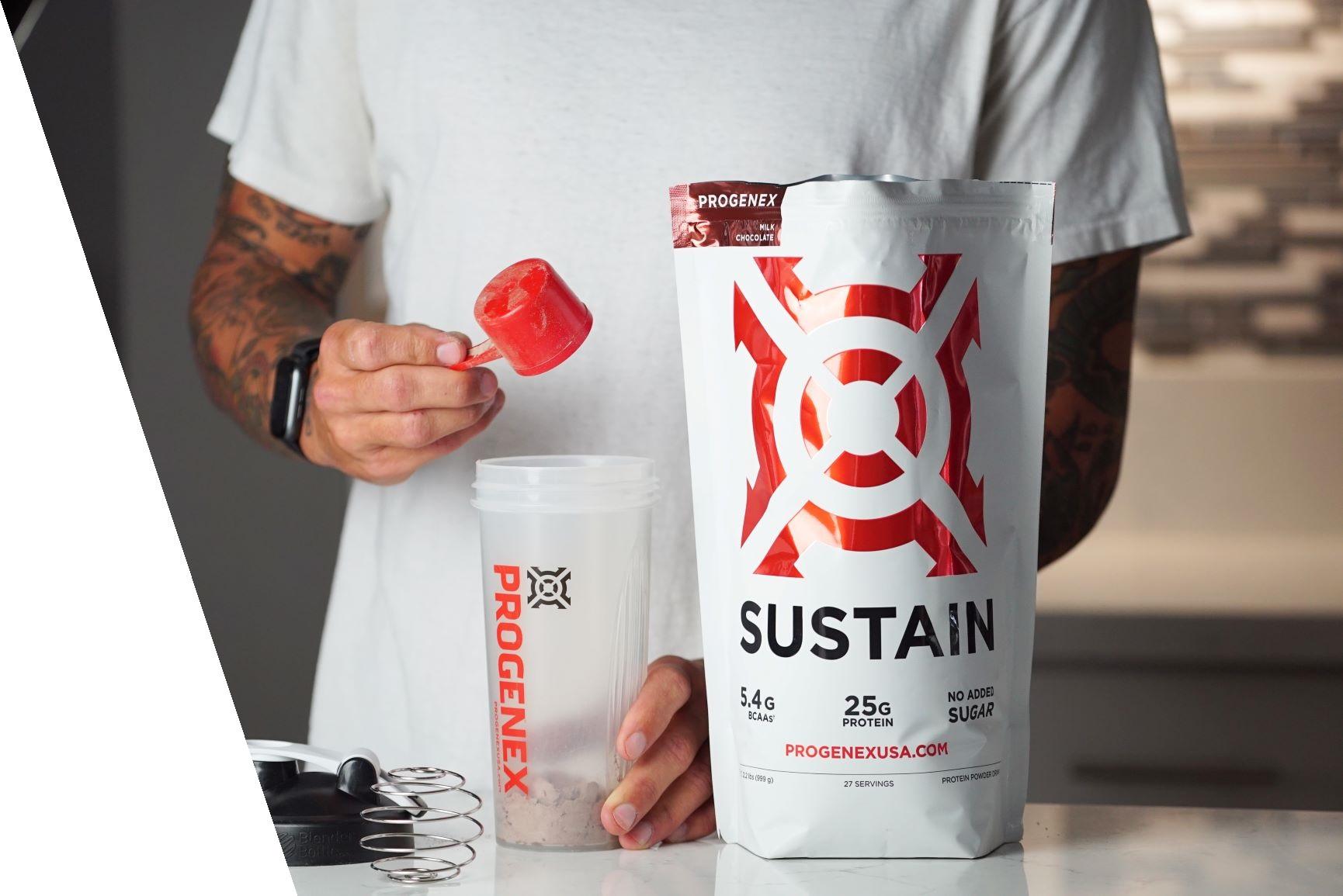 Progenex Sustain whey protein isolate delicious shake being prepared