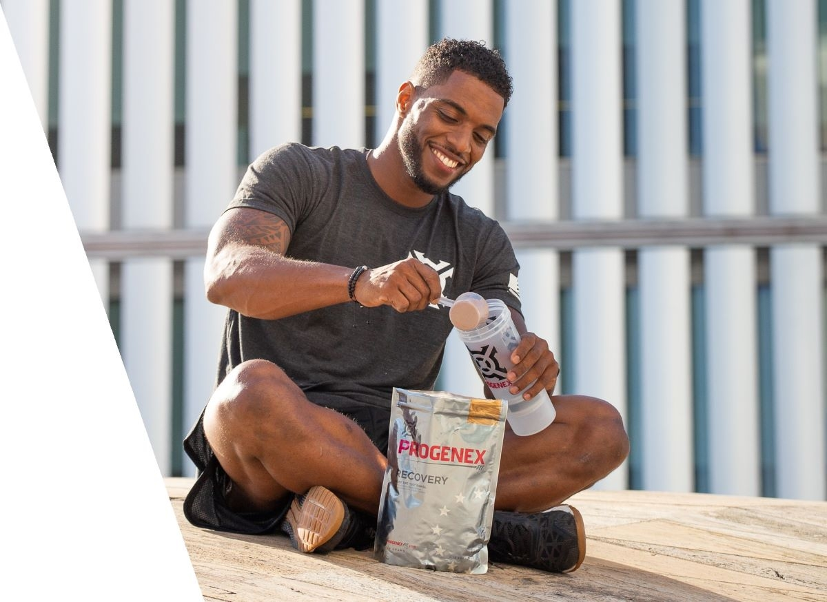 Athlete-Nuno-Brito-Preparing-A-Protein-Shake-Progenex-Recovery-Hydrolyzed-Whey-Isolate